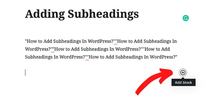 Add Subheading Worpdress