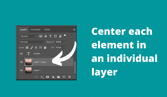 Center elements in individual layers