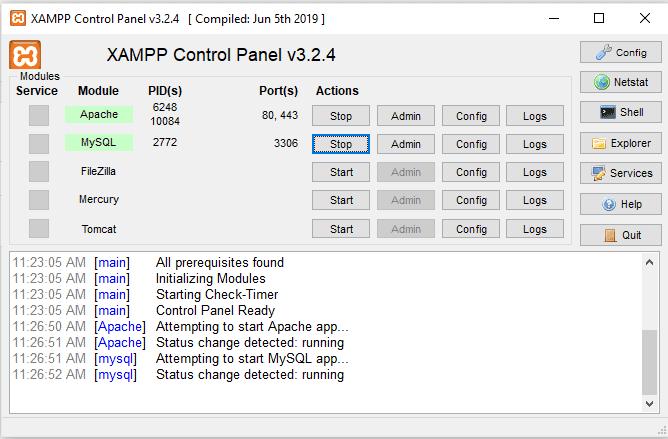 Apache and MySQL running in XAMPP