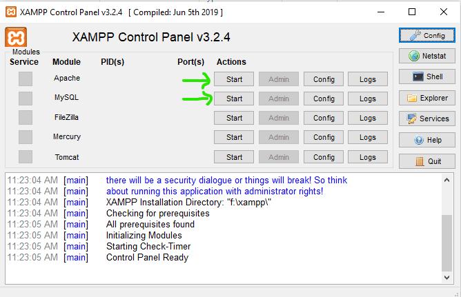 Start Apache and MySQL in XAMPP