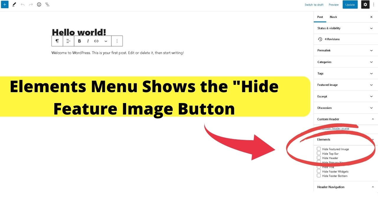1 - Hide Feature Button in WP Editor