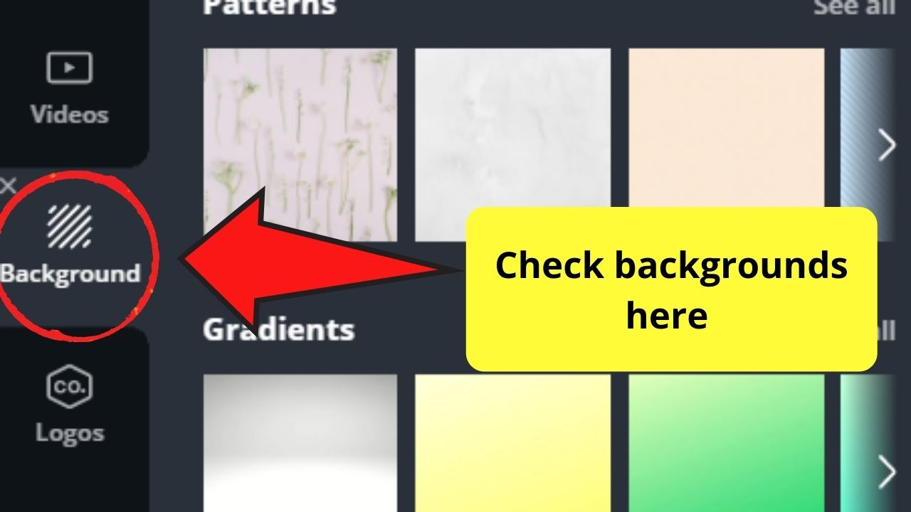 Backgrounds tab