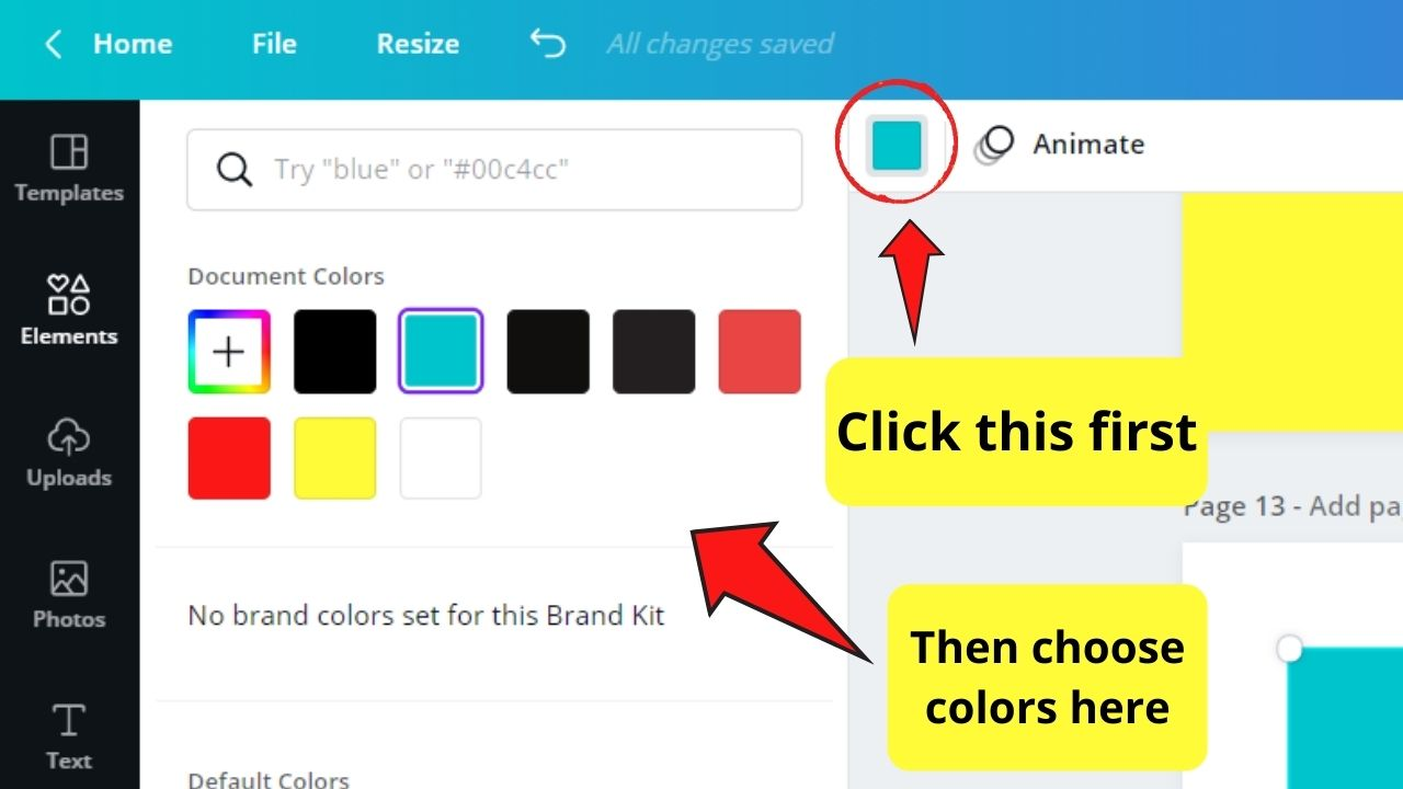 Changing the fill color