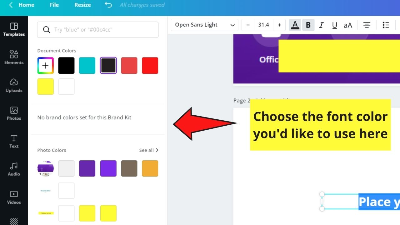 Choosing Font Color from the Palette