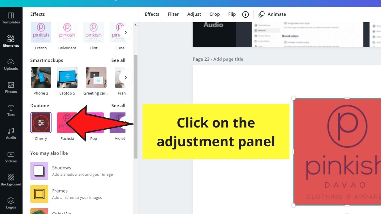 Clicking the Adjustment Panel
