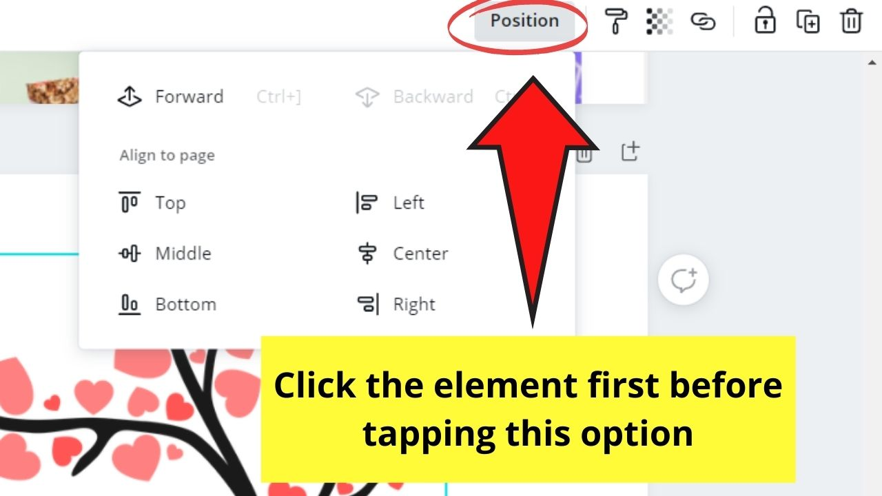 Clicking the Position Button