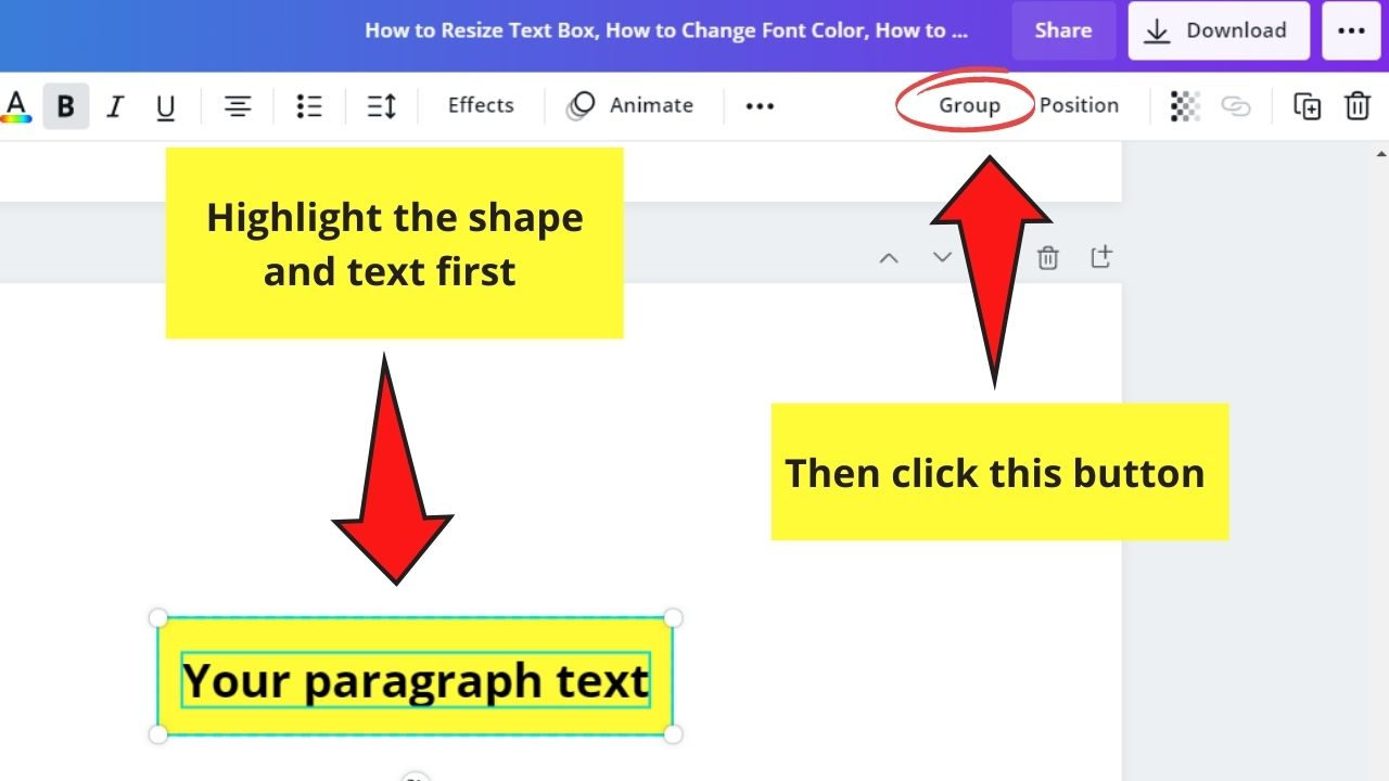 Grouping Text Box and Shape
