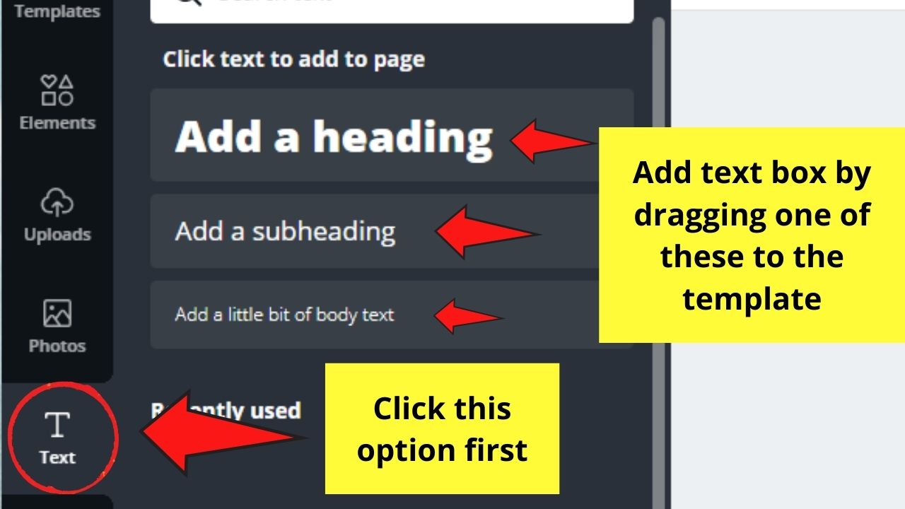 Adding Text through Text Gallery