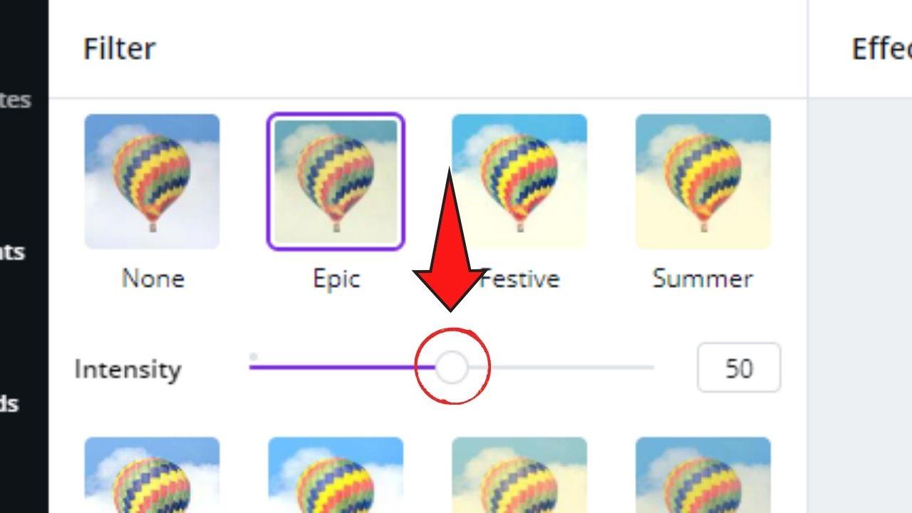 Adjusting Filter Intensity