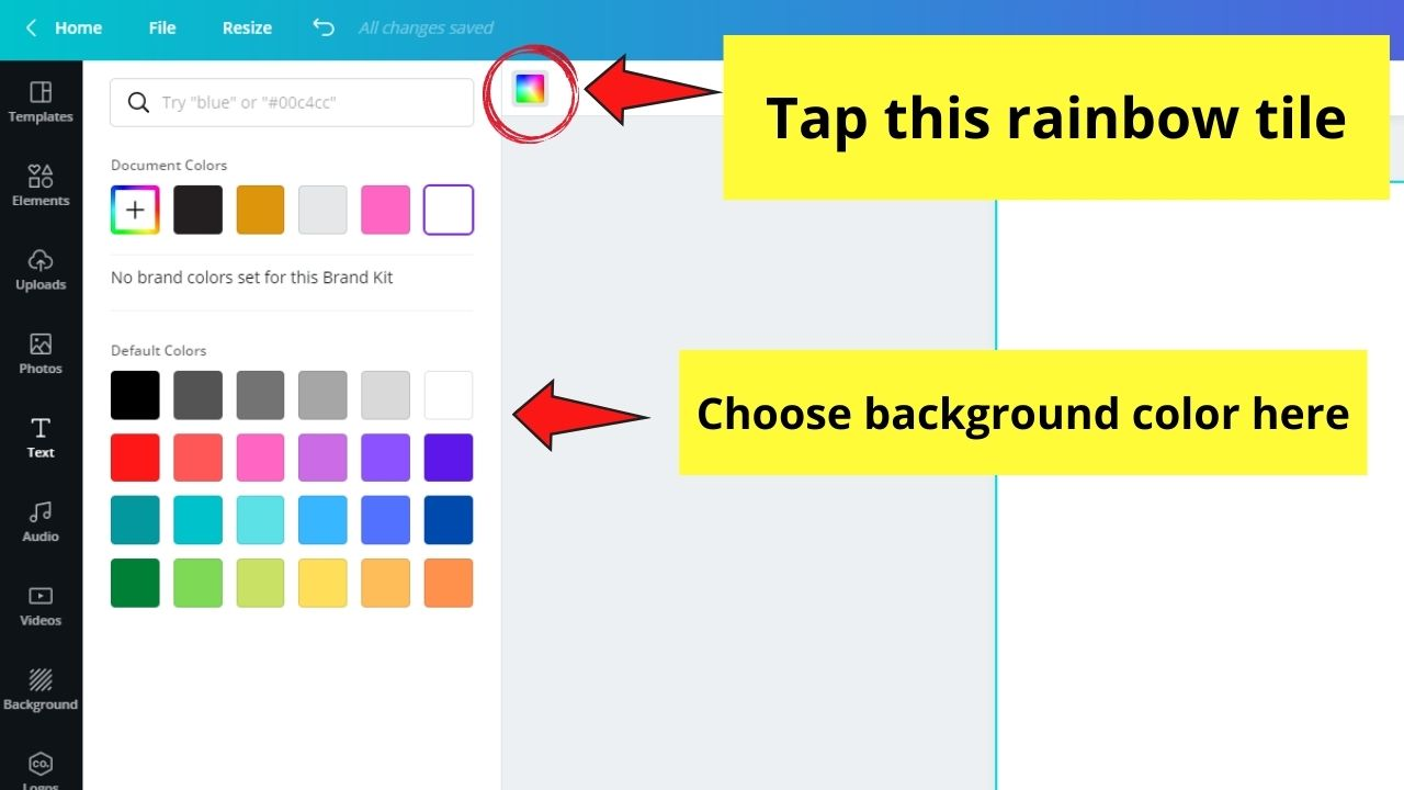 Changing Background Color of Blank Template