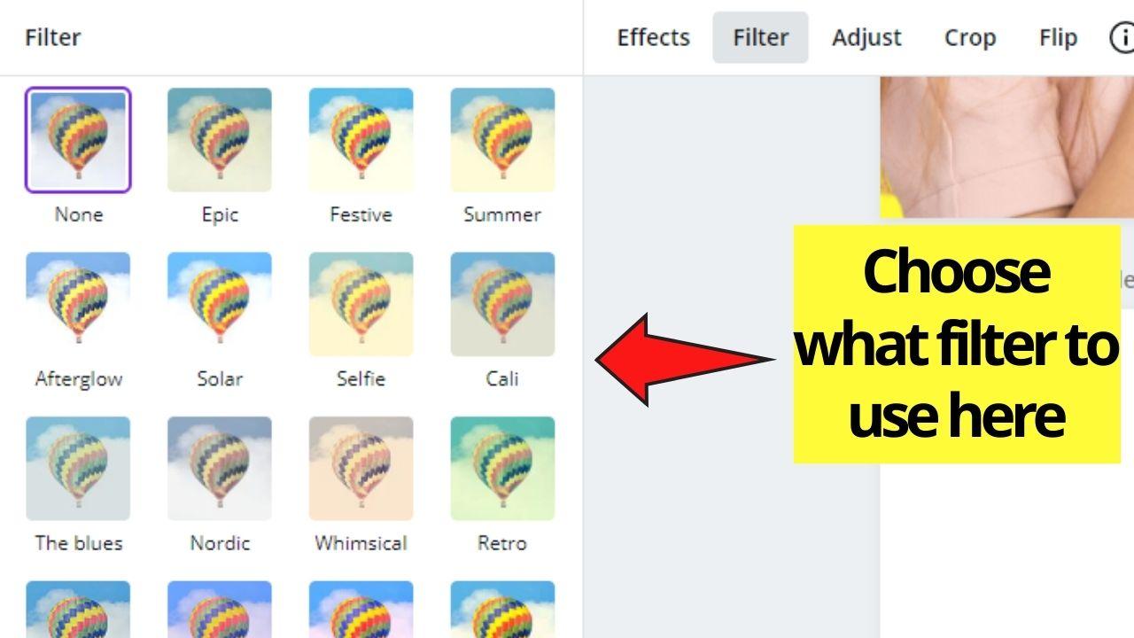 Choosing Image Filter