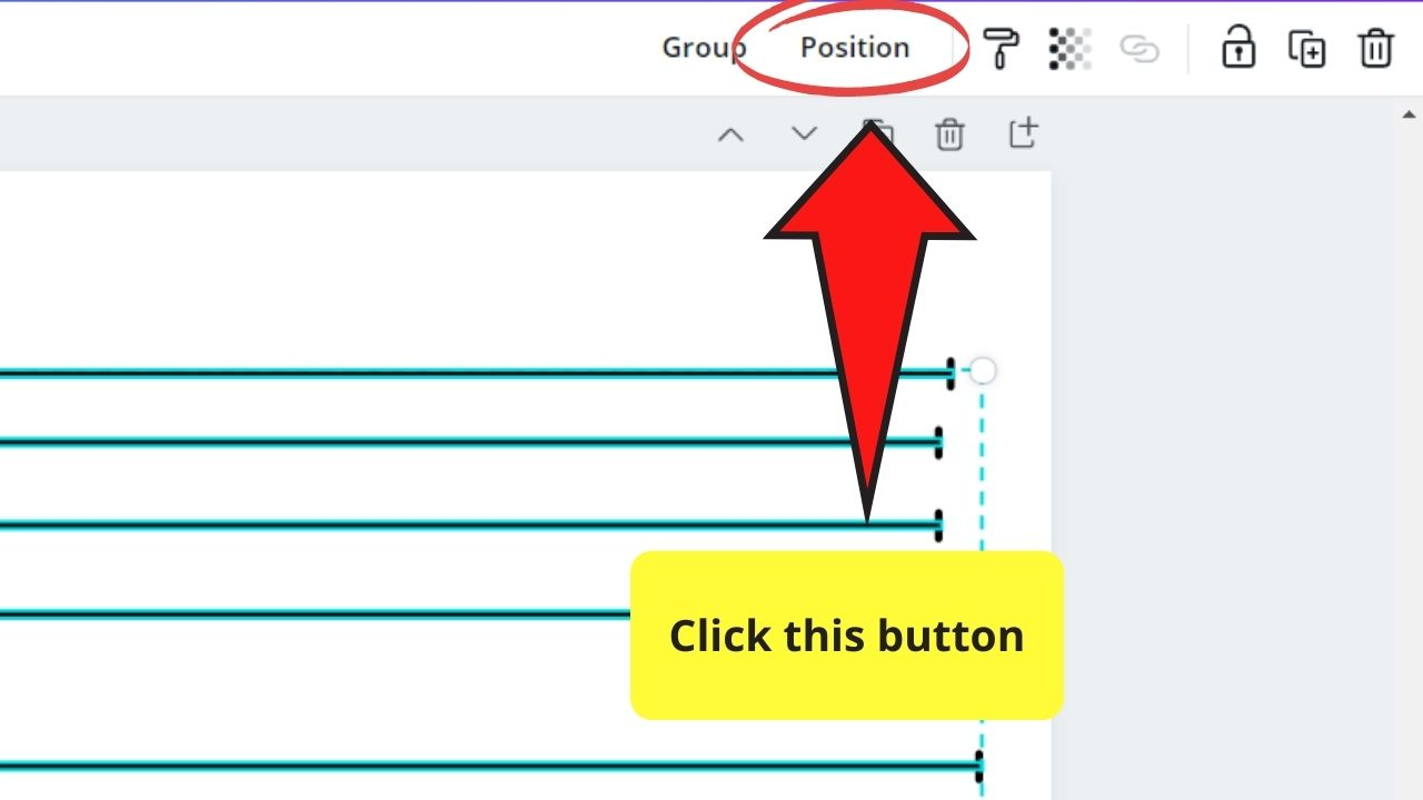 Clicking on the Position Tab