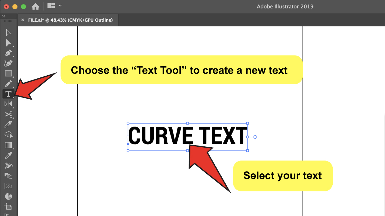 Curve Text in Illustrator Step 2