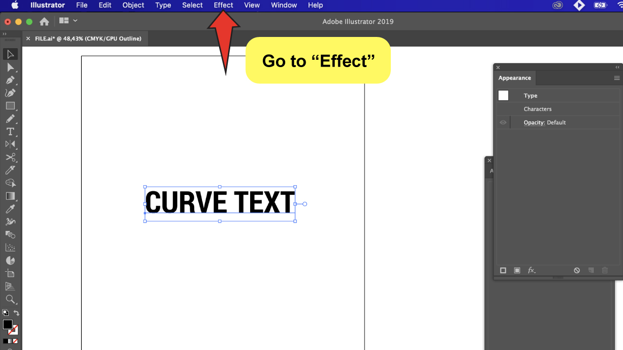 Curve Text in Illustrator Step 3