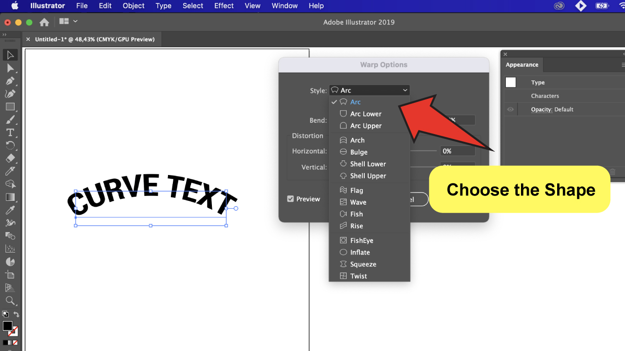 Curve Text in Illustrator Step 5