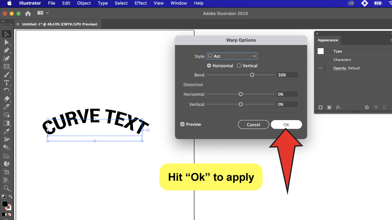 Curve Text in Illustrator Step 6