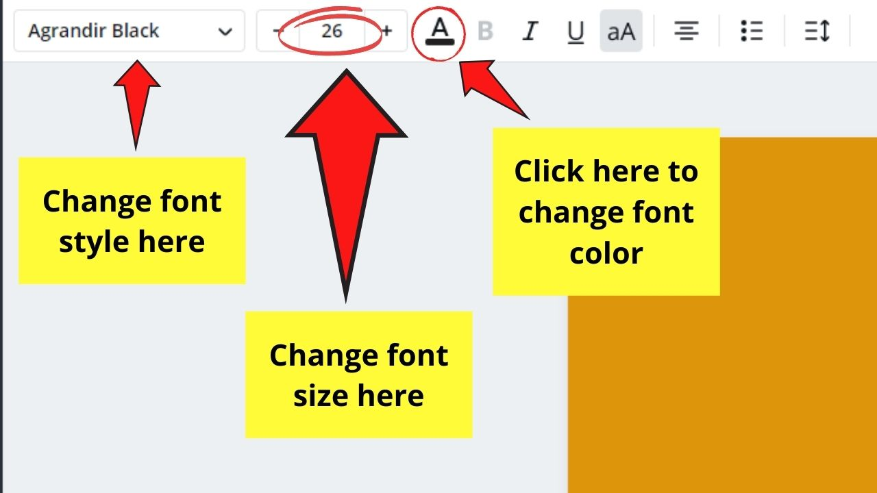 Editing Font of the Text