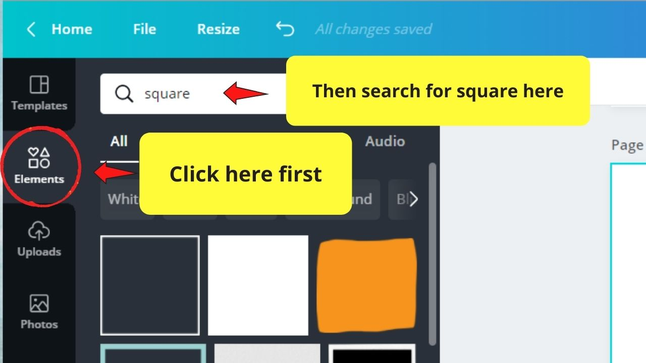 Searching for Square in Elements