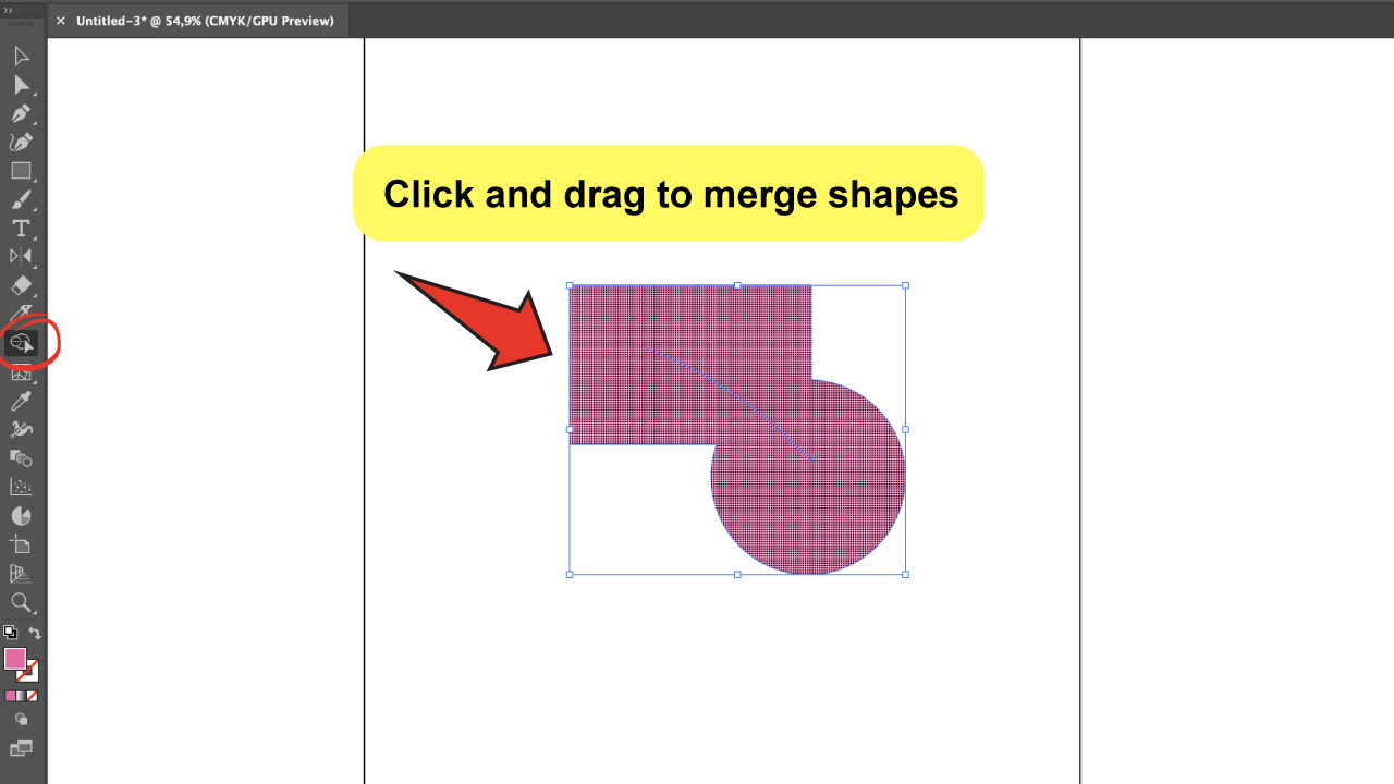 Use the Illustrator Shape Builder Tool Step 3 A- Merge