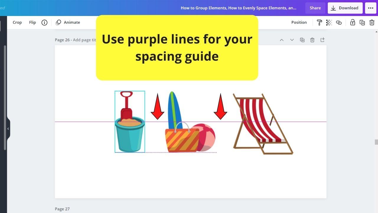 Using Purple Lines as Spacing Guide