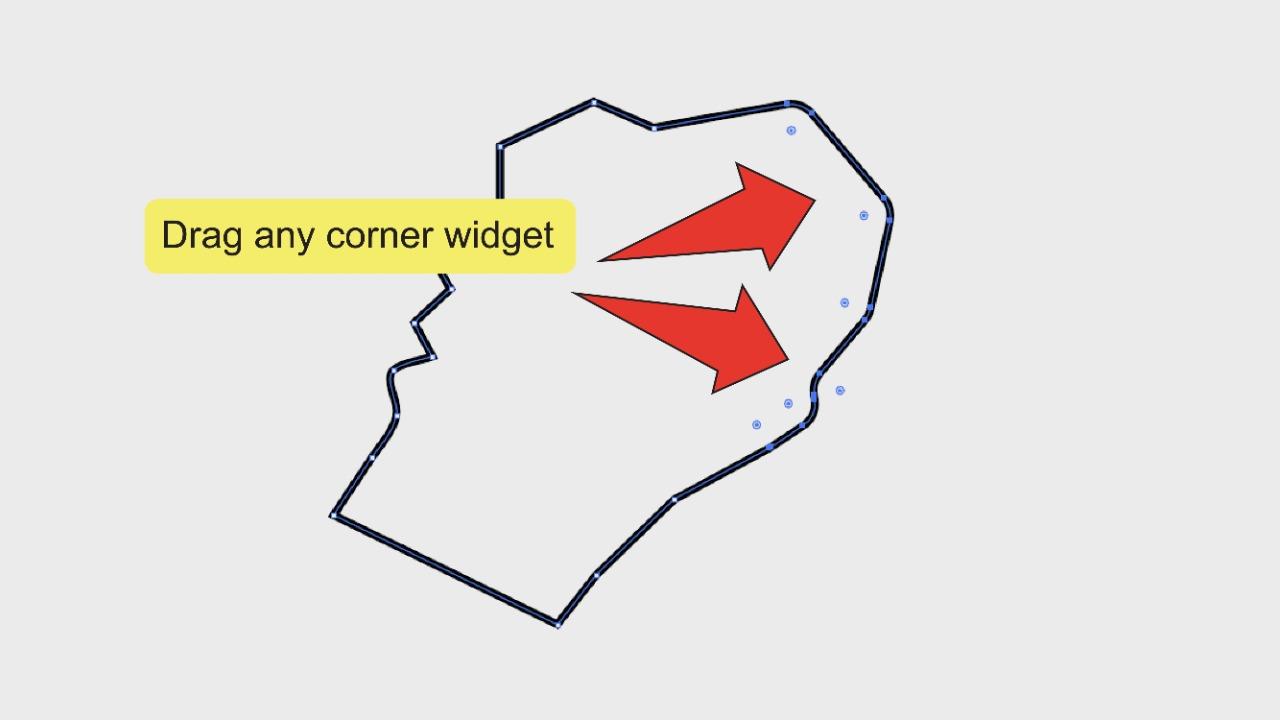 4. Smoothing Edges In Illustrator Using The Corner Widget Step 3