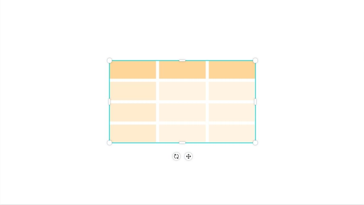 Adding Table on Blank Canvas
