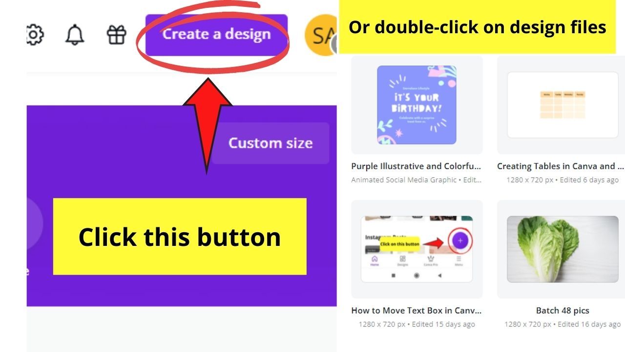 Creating New Design or Selecting Existing Design