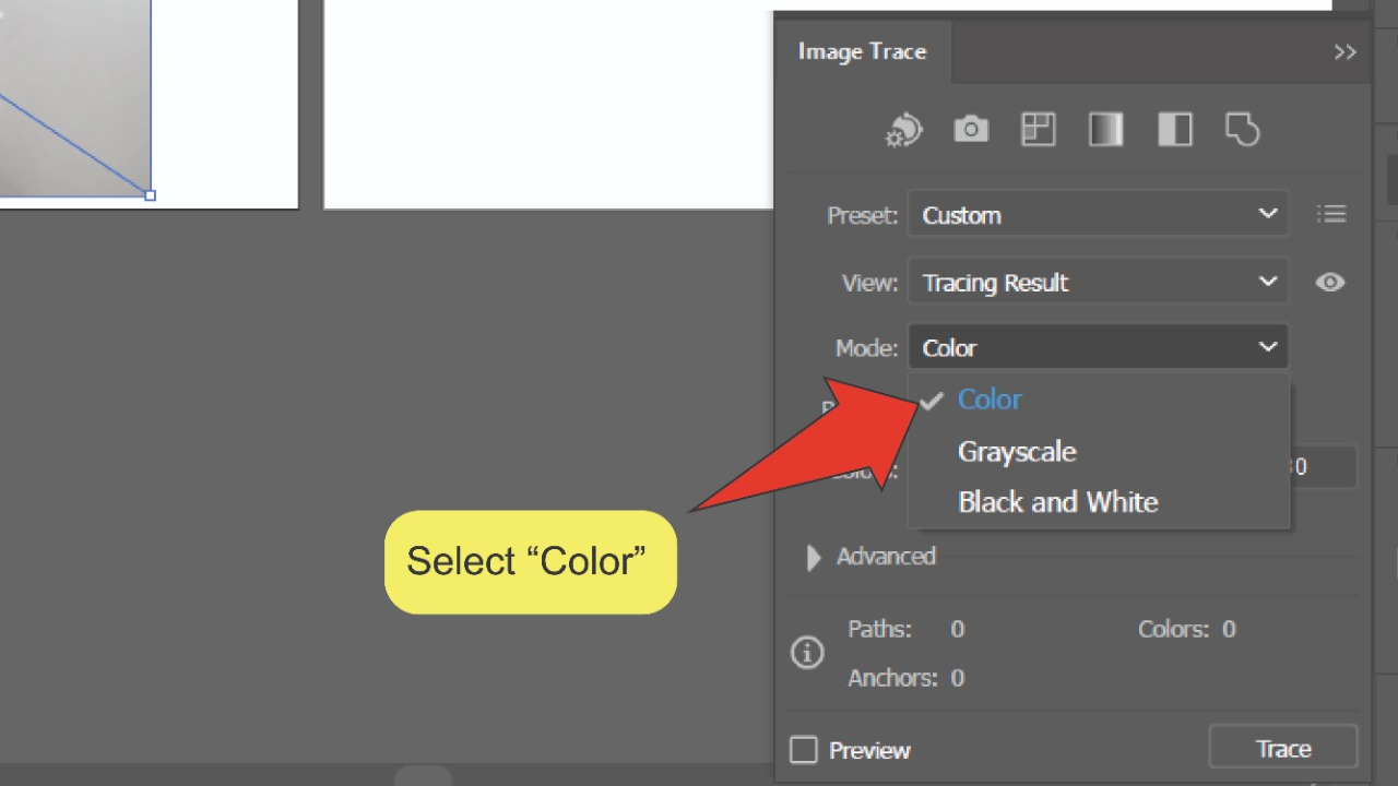How to remove the background of an image in Illustrator Using Image Trace Step 3