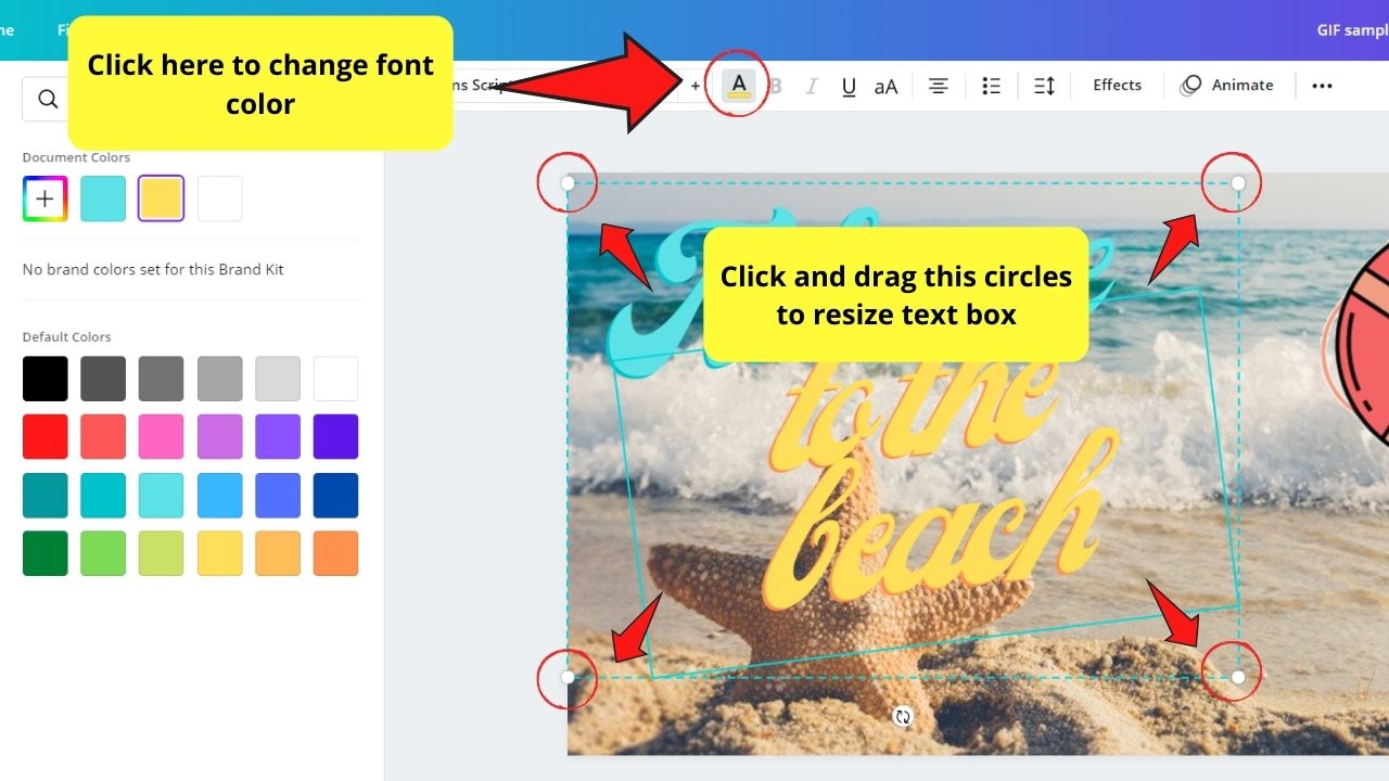 Resizing Text Box and Changing Font Color