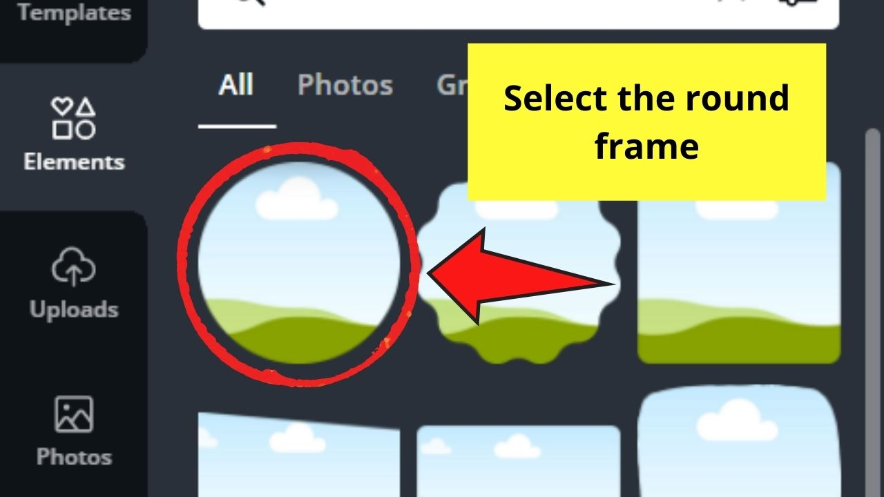 Selecting Round Frame