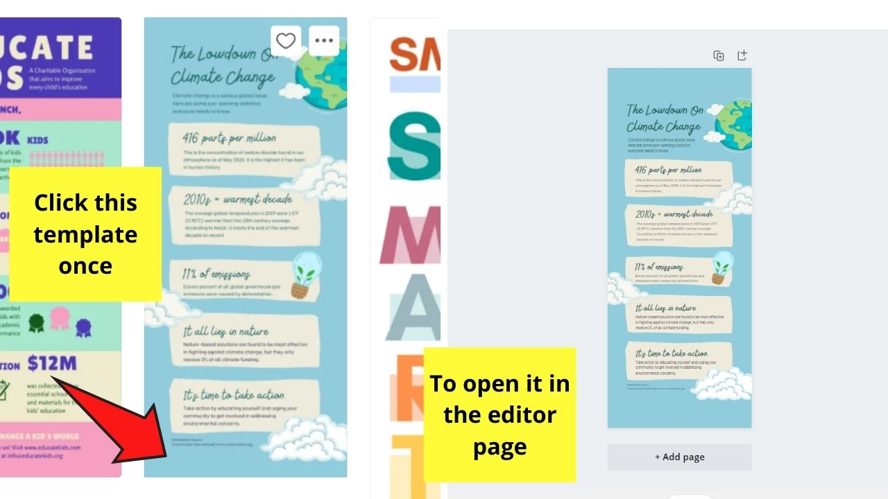 Selecting Template for Infographic