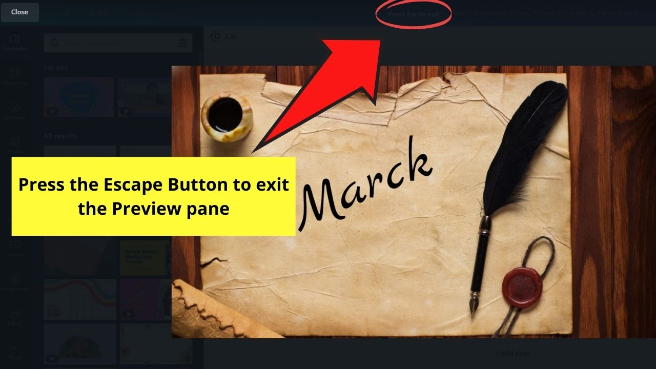 Tapping the Escape Button to Exit Preview Mode