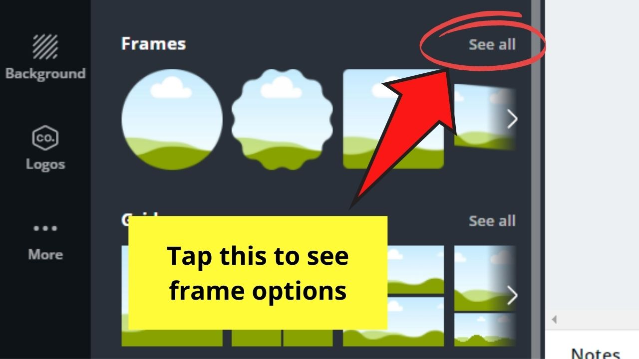 Tapping the See All Option in the Frames Option