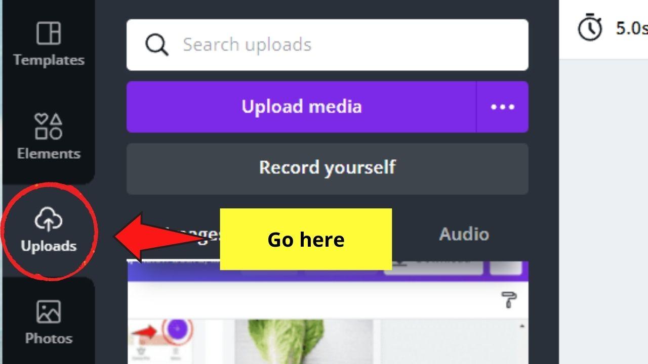 Uploads Button in Canva
