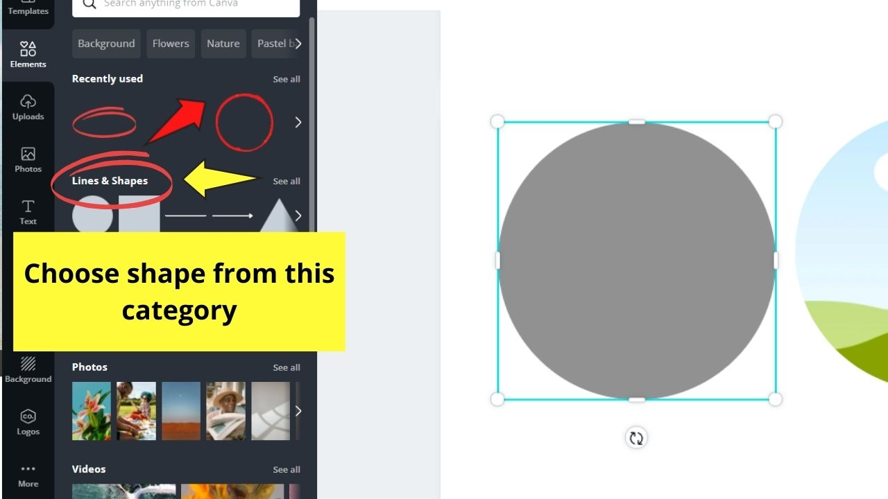 Adding Circle from the Lines and Shapes Category