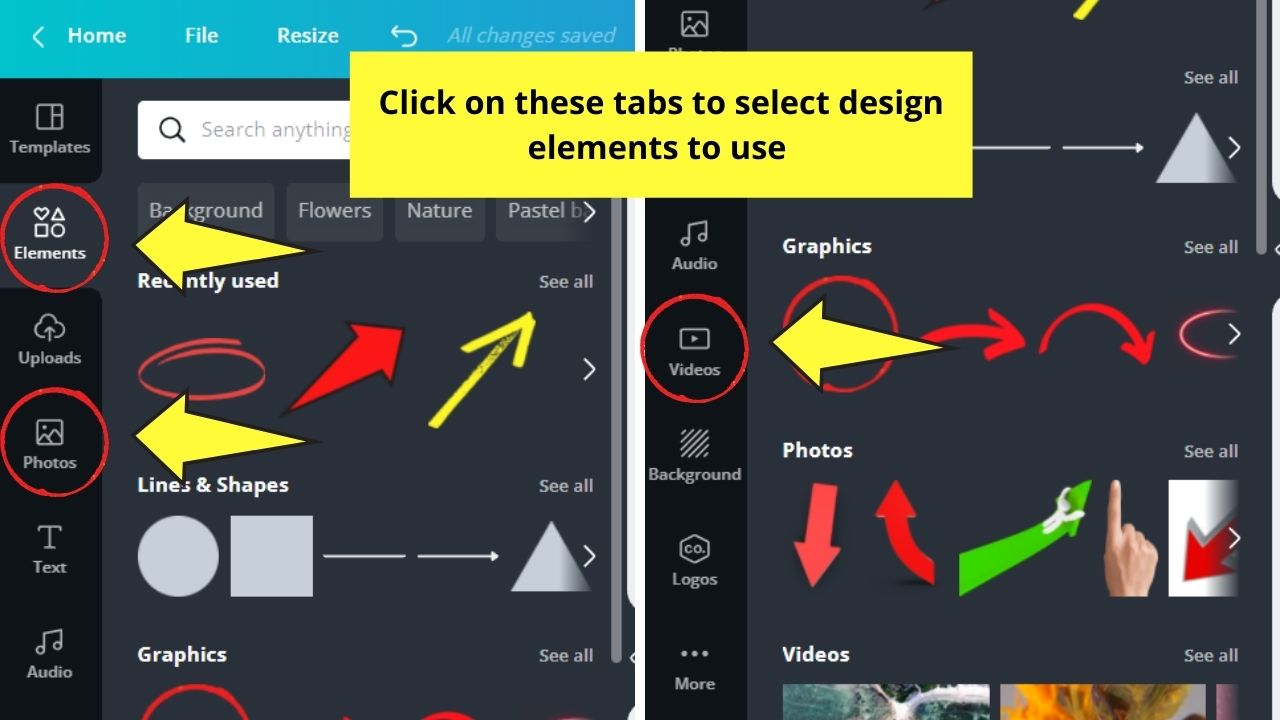 Canva Elements, Photos, and Videos Galleries