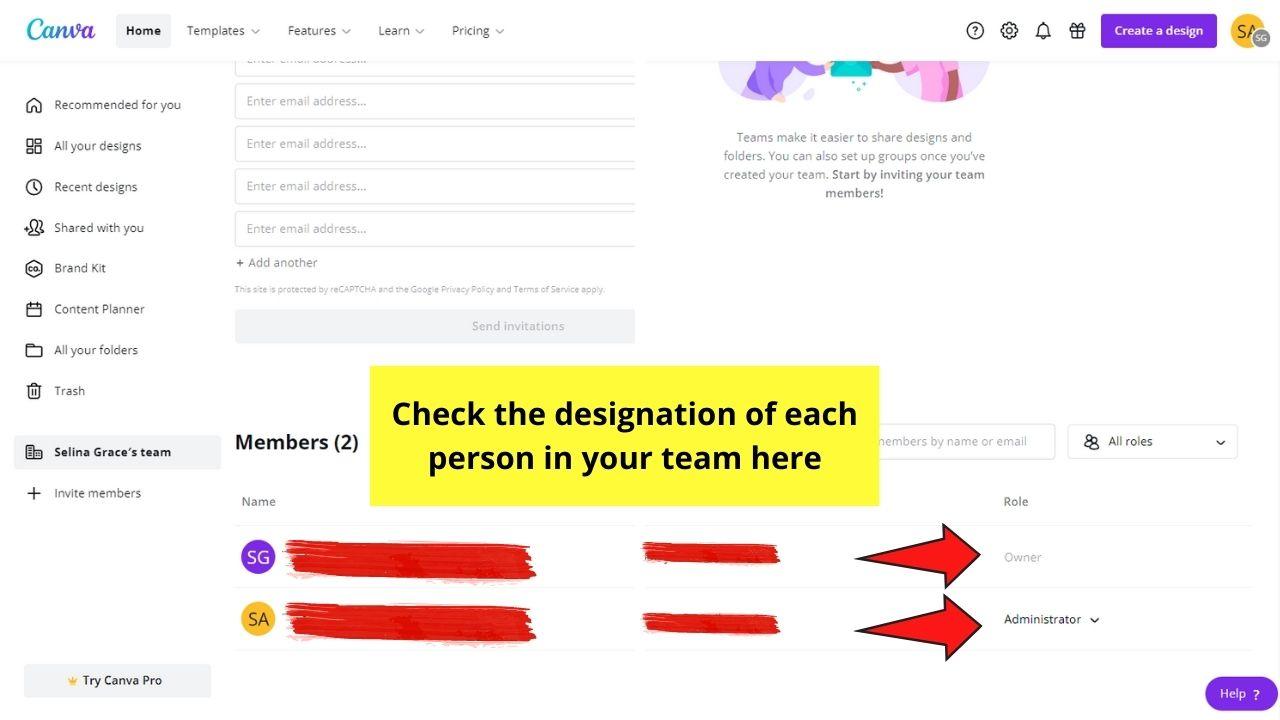 Checking Designation of Team Members