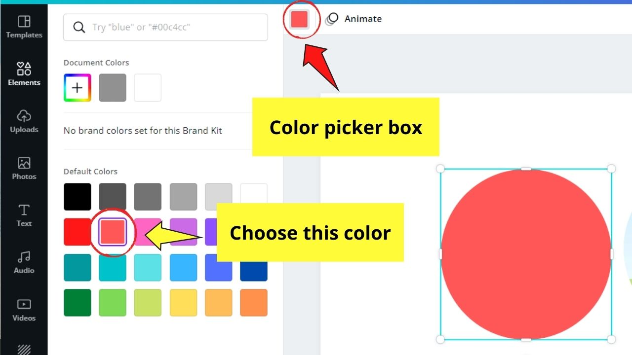 Choosing Color for Circle
