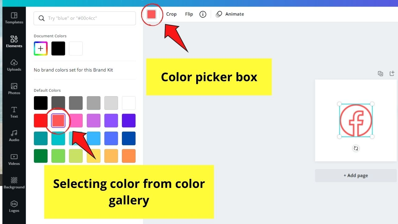 Choosing Color for Clickable Icon