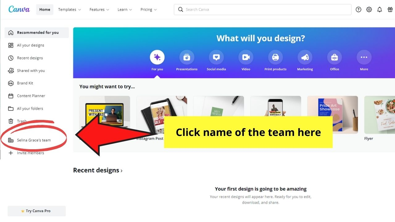 Clicking Team Name