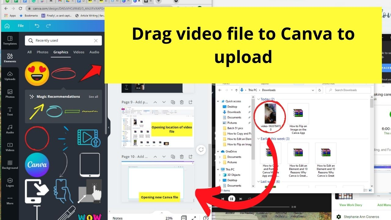Dragging Video to Canva