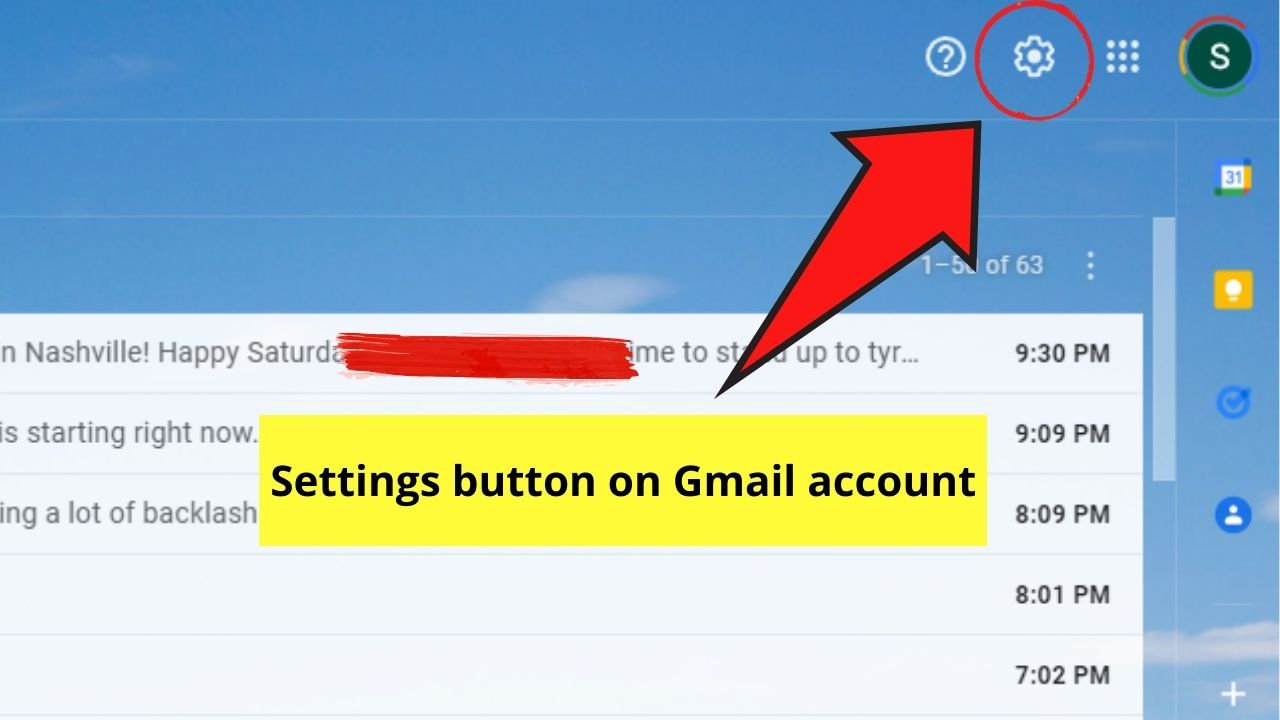 Gmail Settings Button
