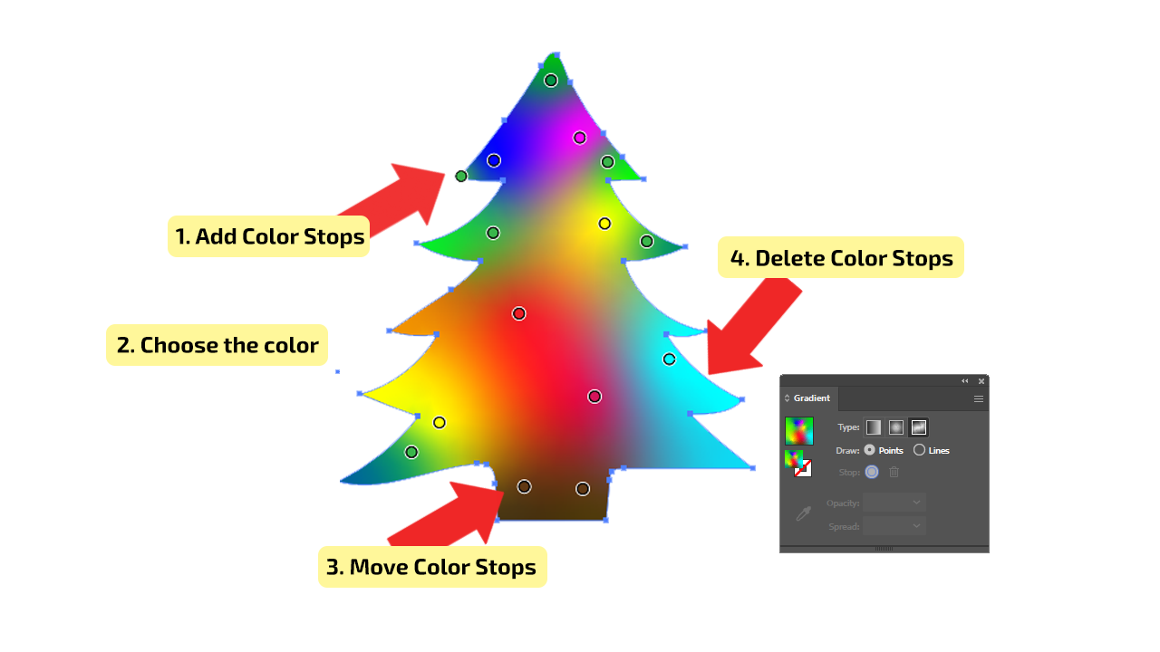 How to Use Freeform Type - Points of Gradients in Illustrator Step3