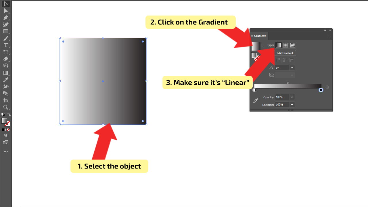 How to Use Linear Type of Gradients in Illustrator Step 4