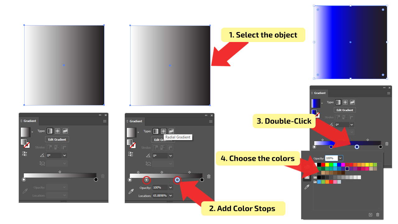 How to Use Linear Type of Gradients in Illustrator Step 6