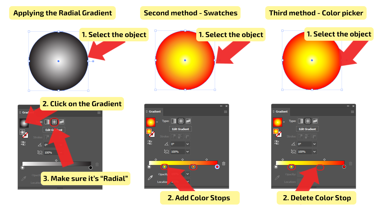 How to Use Radial Type of Gradients in Illustrator Step 2