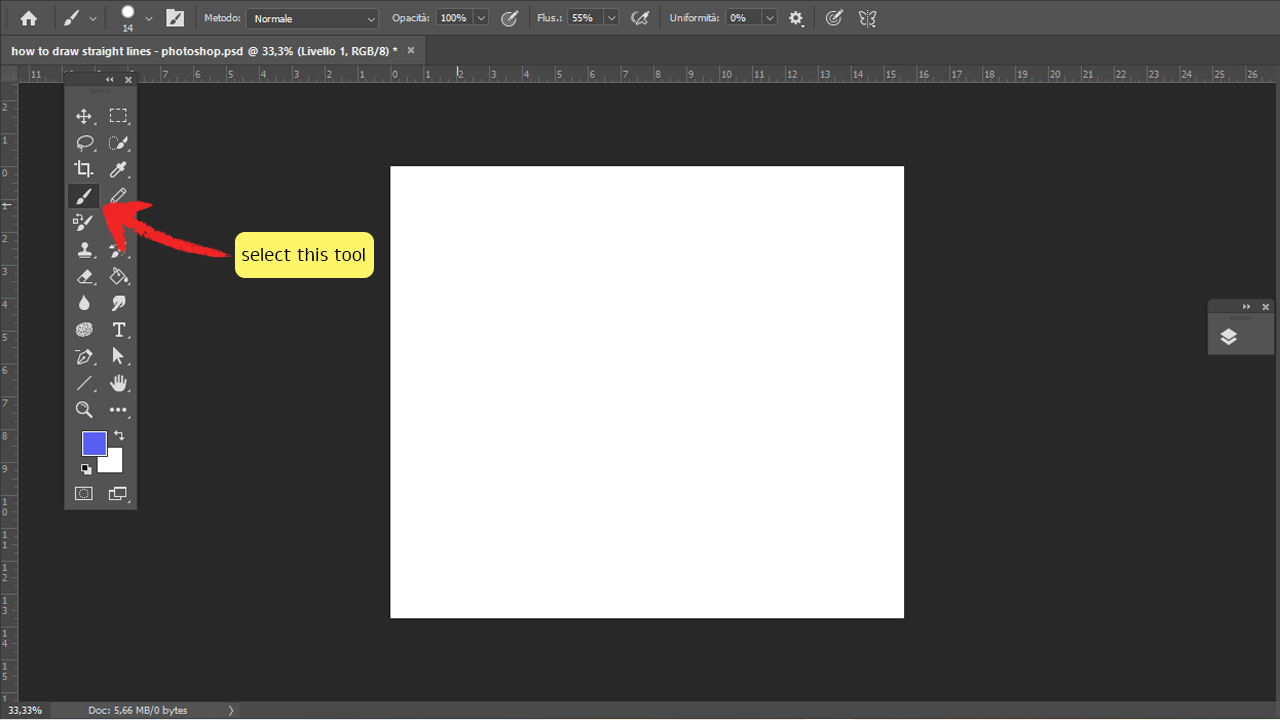 How to draw straight lines photoshop method 1 Step 1