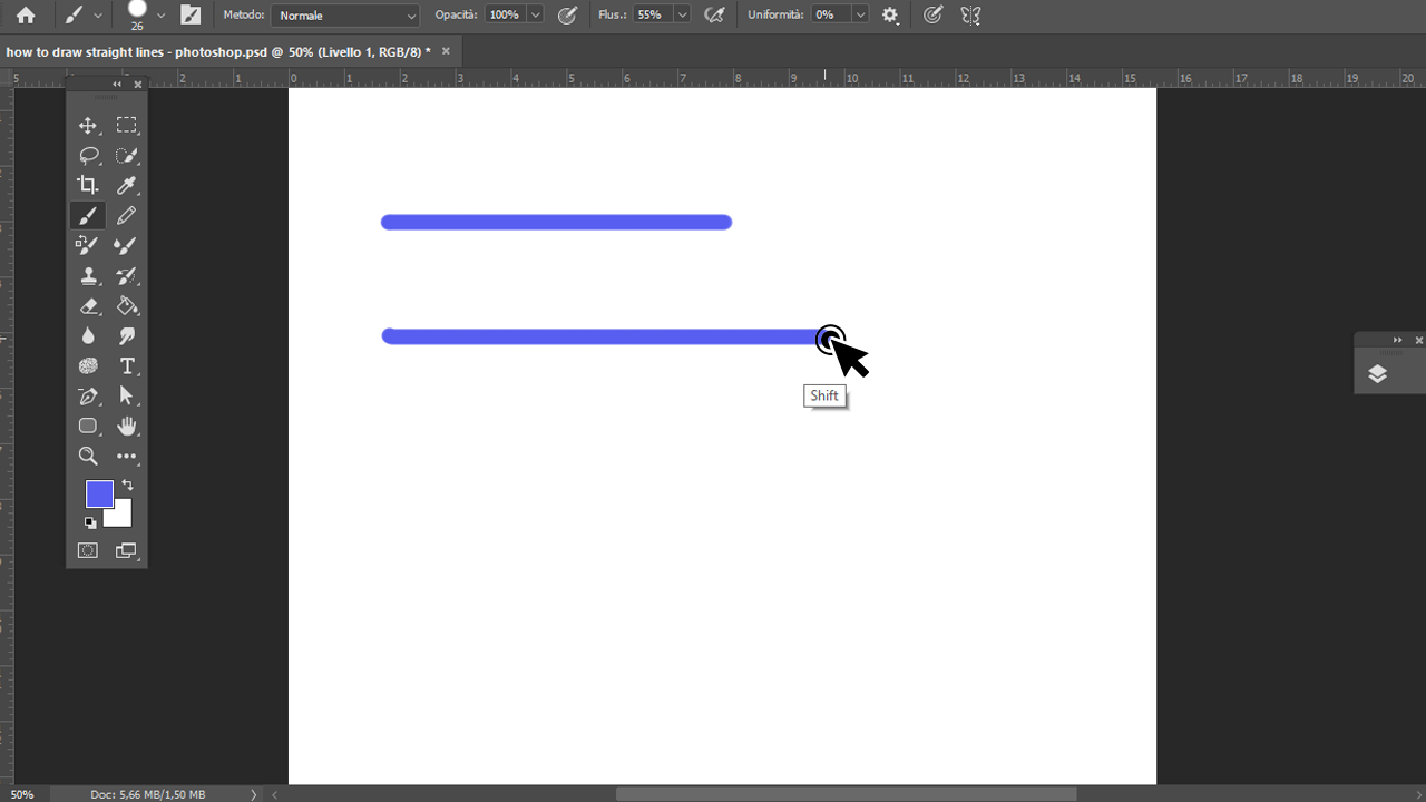 How to draw straight lines photoshop method 1 Step 3
