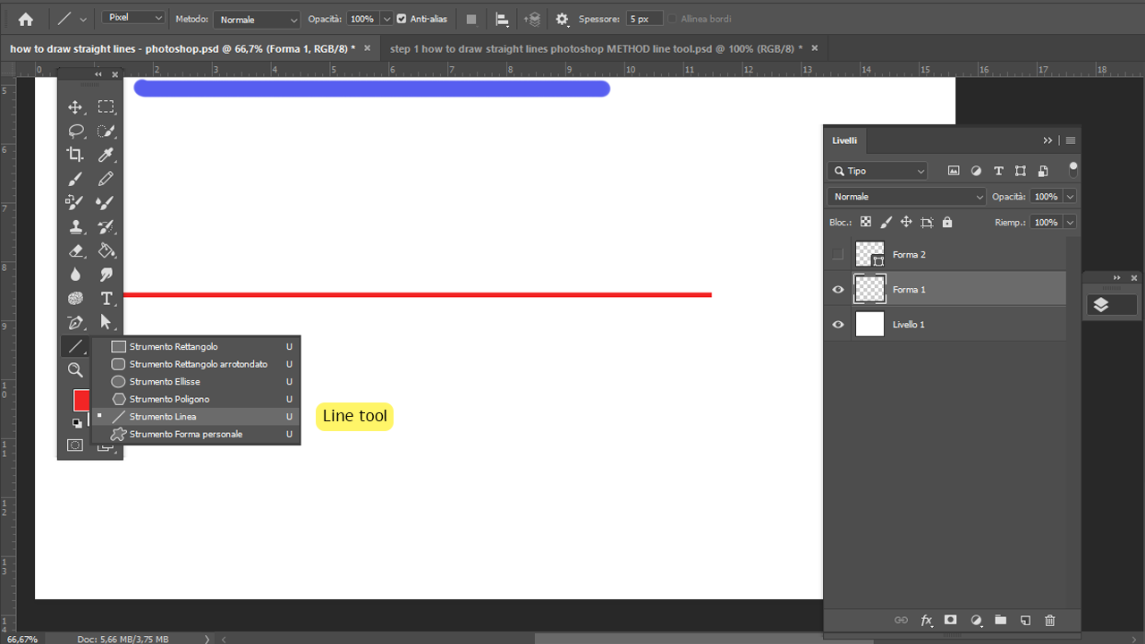 How to draw straight lines photoshop using the Line Tool Step 1