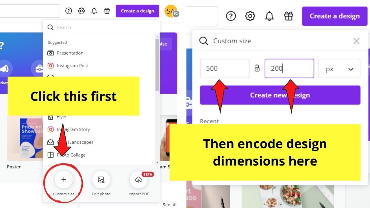 Inputting Design Dimensions